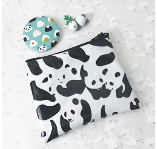 Pochette panda en coton enduit