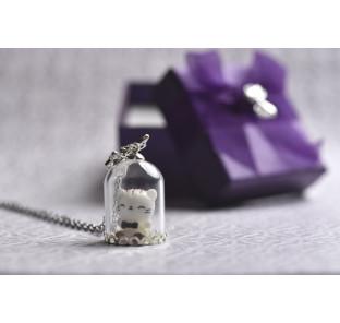 Collier chat blanc kawai...