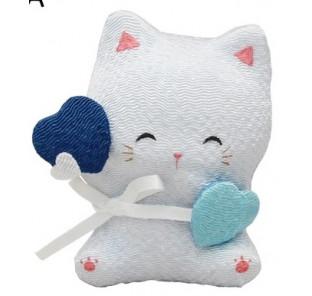 Chat et son cœur bleu en...