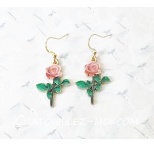Boucles d'oreilles fleur rose