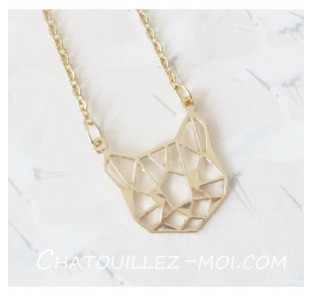 Collier chat origami or