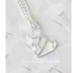 Collier lapin origami argenté