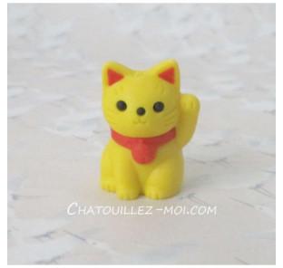 Gomme chat jaune, maneki neko