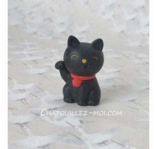 Gomme chat noir, maneki neko