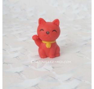Gomme chat rouge, maneki neko