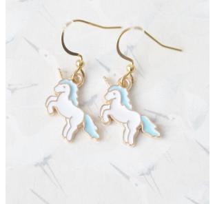 Boucle d'oreilles licorne bleu