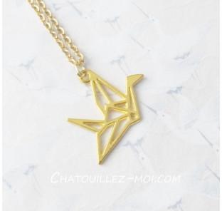 Collier grue origami doré