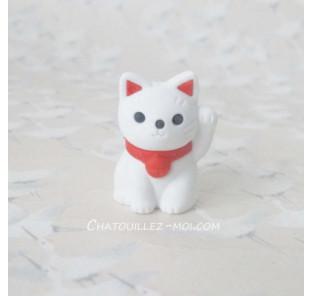 Gomme chat blanc, maneki neko